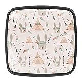 Funny Indian Rabbits Pattern 01 - Pomos de cristal para cajones (4 unidades)