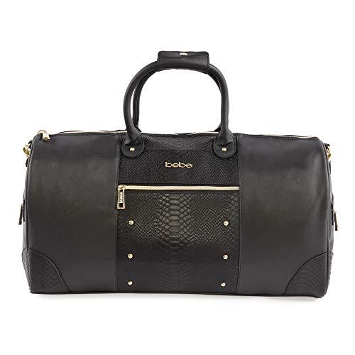BEBE Women's Ellisa Weekend Travel Bag, Black Croc, One Size