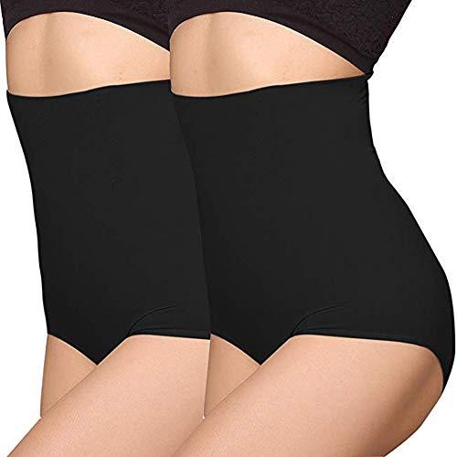 ANGOOL Femme Taille Haute Serre Taille Boby Shapewear Culotte Amincissante Ventre Plat, 2pcs Lot Noir, M