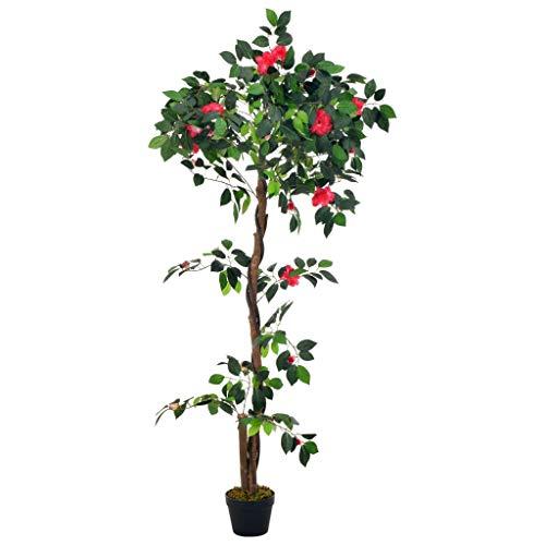 vidaXL Künstliche Pflanze Kamelie mit Topf Kunstpflanze Kunstblume Dekoblume Dekopflanze Zimmerpflanze Topfpflanze Büropflanze Deko Grün 160cm