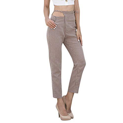 Zarupeng Frauen Gitter Hosen Elegante Freizeithose Damenhose Cropped Hosen Slim Fit Bleistifthosen