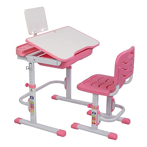 JYXJJKK Mesa de escritorio y silla para niños multifuncionales de compra directa británica, 70 cm, se puede inclinar, mesa de estudio y silla para niños (color rosa