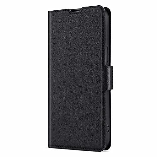 DOINK Funda Delgado y Ligero para Xiaomi Redmi 9A / Redmi 9AT, Flip/Folio Carcasa, Premium Cuero Carcasa con Tarjetas Ranura, Plegable - Negro