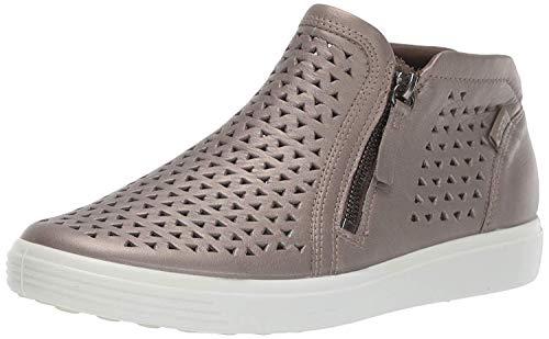 ECCO Women's Soft 7 Laser Cut Bootie Sneaker, Stone Metallic, 9-9.5