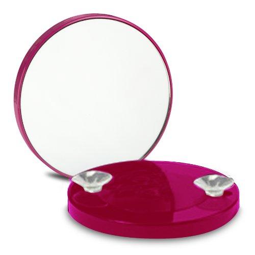 OOOH Miroir Grossissant x10 à ventouses - Rose foncé - 8.5cm