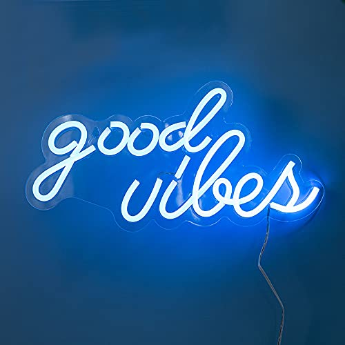 Good Vibes Neon Signs for Bedroom Wall Decor,Powered by USB 3D Art Neon Light, Ice Blue...