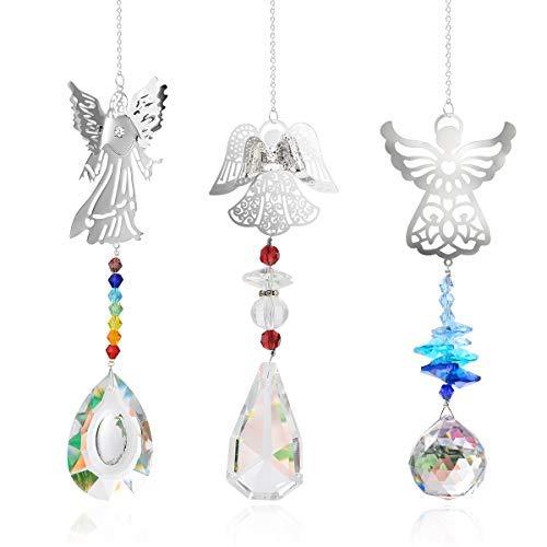 Herefun 3 Stück Kristall Regenbogen Sonnenfänger Hängende Fenster Glas Anhänger Kristallkugel Prisma für Zuhause Büro Garten Dekoration