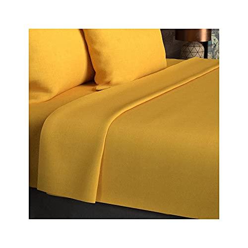 Sábana encimera amarilla Lisa 180x290 de algodón