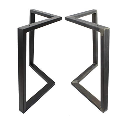 2x Natural Goods Berlin Tischkufen | schwerlast Tischgestell für große Tische | Möbelkufen stabil | Tischbeine Esstisch, Schreibtisch, Couchtisch, Bank, Konferenztisch (ARROW - H72cm, Schwarz)