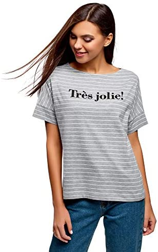 oodji Ultra Mujer Camiseta de Algodón a Rayas