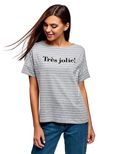oodji Ultra Mujer Camiseta de Algodón a Rayas, Gris, ES 40 / M