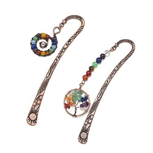 Jovivi - Segnalibri vintage in bronzo a forma di stelle, luna, sole, 7 chakra, albero della vita avvolto in fil di ferro, per donne e uomini, confezione da 1 – 10, 1pc Tree of life + 1pc Whirlpool