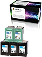 OCProducts Refilled HP 98 and HP 95 Ink Cartridge Replacement for HP Officejet 150 100 H470 PhotoSmart D5160 C4180 2570 8030 8049 (3 Black 2 Color)