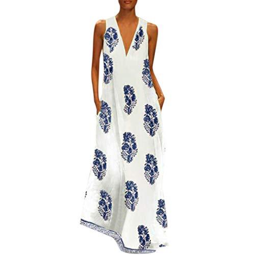 MRULIC Damen Blumen Maxikleid Bohemian A-Linie Lang Kleider Sommerkleid Partykleid V-Ausschnitt ärmellos Strandkleider Boho Lange Bohemian Kleid(D-Blau,EU-38/CN-M)