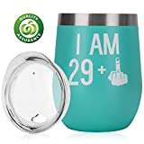 30th Birthday Gifts For Women Men 30th Birthday Decoration For Her Him Funny 29 + One Finger 12oz Stainless Steel Wine Tumbler with Lid