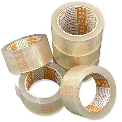 Printation Juego de 6 cintas de embalaje de 50mm transparentes - fuerte, a prueba de desgarros y poco ruidosas para paquetes - 6 rollos de cinta adhesiva de 66m cada uno - silencioso