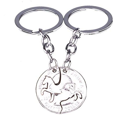 Ukallaite - Llavero de aleación para pareja, diseño de caballo, diseño de monedas 1 color Talla única