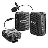 2,4G Système de Microphone sans fil, SYNCO G1 (A2) Kit émetteur-Récepteur Transmission de 50M Micro Cravate Lavalier, Surveillance en Temps Réel pour Caméra DSLR PC Smartphone Enregistrement Vidéo
