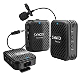 SYNCO G1(A2) 2.4GHz Sistema Micrófono-Inalámbrico-Reflex-Solapa-DSLR Microfono Corbata Profesional para Móvil, Cámara, Videocámara, Laptop y Tablet, Compatibla para Canon, Sony, Nikon, Fujifilm