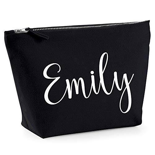 Personalised Name Make Up Bag Washbag Travel Birthday Valentines Christmas Present Gift New (Small (17 x 7 x 6cm), Natural)