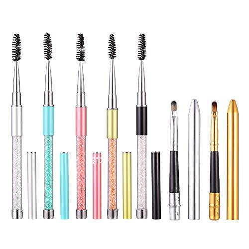 Xinstroe 5PCS Wimpernpinsel Travel Eye Brush mit Kappe Crystal Eye Brow Mascara Brushes Tragbare...