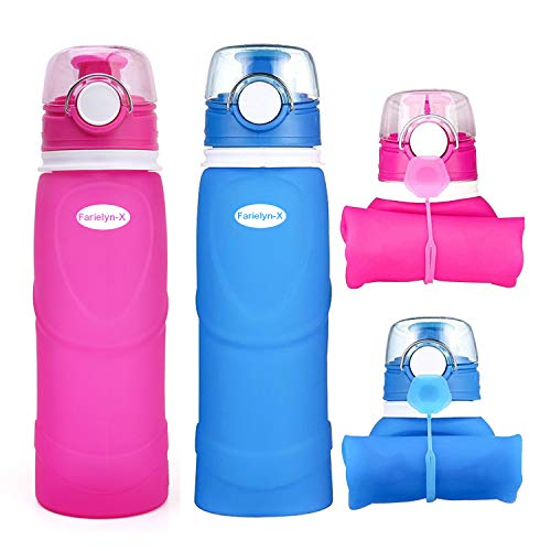 Farielyn-X Collapsible Water Bottle 26oz / 750ml Medical Grade Silicone, BPA Free, Roll Up Foldable Features for Sports, Outdoor & Indoor Water Bottle