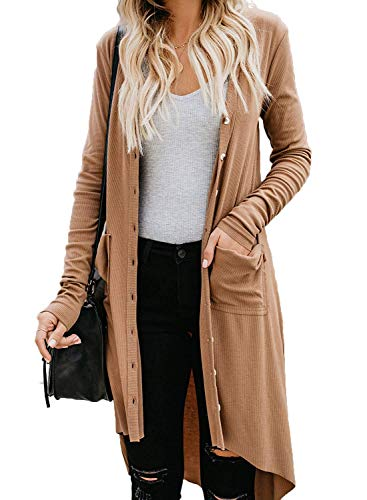 Naggoo Casual Cardigans for Women Open Front Button Down Duster Cardigans Laides Comfy Ribbed Knit Cardigan Khaki,S
