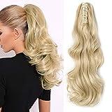 Silk-co Extensiones de Cabello Clip Coleta Postiza Rizada con Pinza Pelo Sintético Se Ve Natural Postizos de pelo para Mujer #Rubia Pálida (45cm,140g)