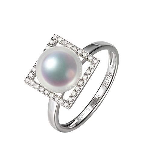 Daesar Damen Ring 18K Weißgold 750 Quadrat mit 9MM Akoya Perle Hochzeitsring Verlobungsring mit Diamant Große 60 (19.1)