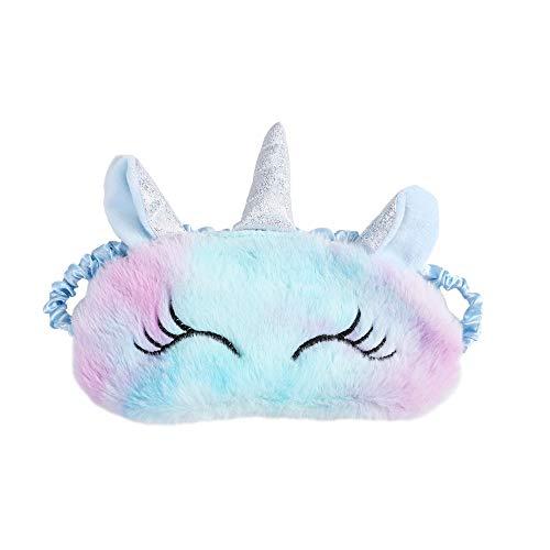 2 fundas para ojos de sueño, 3D, esponjosas, con diseño de unicornio, elástica, para niñas, adolescentes, mujeres, para viajes, color azul