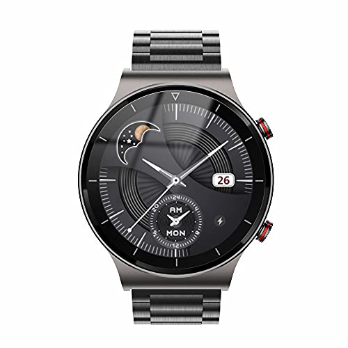 FHX Smart Watch, Bluetooth Call Voice Chat con Ritmo cardíaco/Sleep Monitor Fitness Tracker, Pantalla táctil Completa de 1.28 Pulgadas IP67 Impermeable,Negro