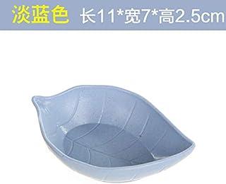 Plato de salsa de cerámica creativa Vajilla japonesa salsa vinagre condimentos encurtidos plato de vinagre plato de plato pequeño plato salsa plato de hueso,hojas de color azul claro