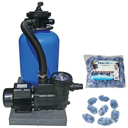 well2wellness Pool Sandfilteranlage Poolfilter TOP 300 für Aufstellbecken und Pools bis 30 m³ Plus 1 x 350g Fibalon Rope