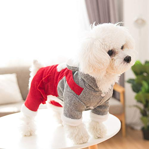 Fleece hondenmantel overall capuchonjas voor kleine honden 4-poten hondenkostuum verdikt vest puppy hoodie en lange broek gebreide mantel huisdier kleding Poodle Chihuahua Coat herfst winter, X-Small, rood