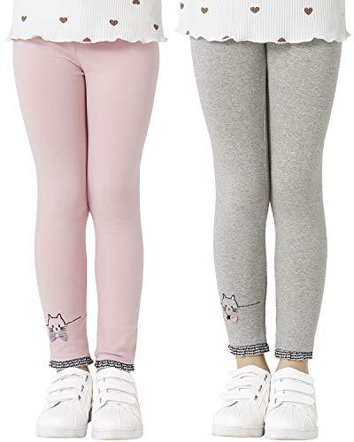 Adorel Leggings Algodón Pantalones Bordados Niñas Pack de 2 Rosa & Gris Claro 3-4 Años (Tamaño del Fabricante 110)