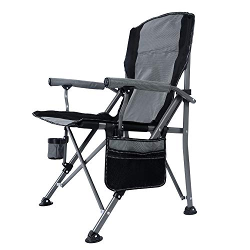 MaiuFun Portable Camping Chair Folding Heavy Duty Quad Outdoor Large Chairs Support 330 lbs High Back Padded Thicken Oxford with Armrests, Storage Bag, Cup Holder, Carry Bag for Outside(Grey)