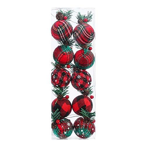 Lrocaoai 1 Scatola / 10 Pezzi Decorazione Albero di Natale Palla Decorazione Appesa Festival Palla Appesa Palle di Natale Ornamenti con Corda Appesa 5 Cm
