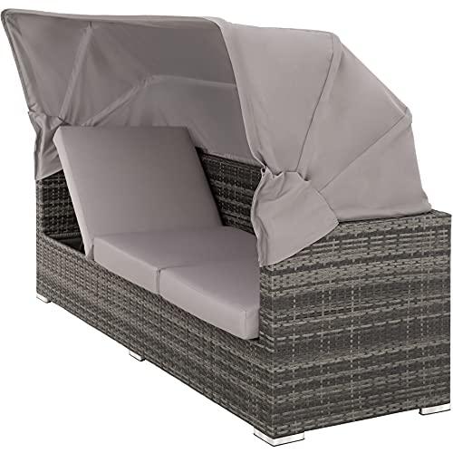 TecTake 800771 Aluminium Poly Rattan Lounge Set, 16-teilig, wetterfest, Garten Sofa mit Sonnendach, Outdoor Sitzgruppe inkl. Kissen und Beistelltisch – Diverse Farben – (Grau | Nr. 403237) - 4