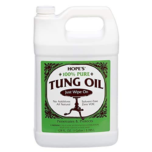 HOPE'S 100% Pure Tung Oil Wood Finish for Furniture & Floors, Moisture Resistant Sealer, One, 128 Fl Oz