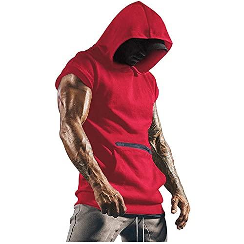 Ärmellos Tank Top Muskelshirt Herren Workout Sport Fitness Hoodie Unterhemden Weste mit Reißverschluss Handytaschen Mode Streetwear Männer Sommer Vest Basic T-Shirt Tankshirt Mit Kapuze Achselshirt