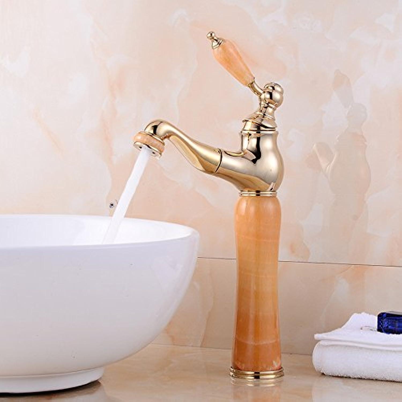 Bijjaladeva Antique Bathroom Sink Vessel Faucet Basin Mixer Tap The sink faucet full copper kitchen faucet back-up golden yellow jade Mixer Taps