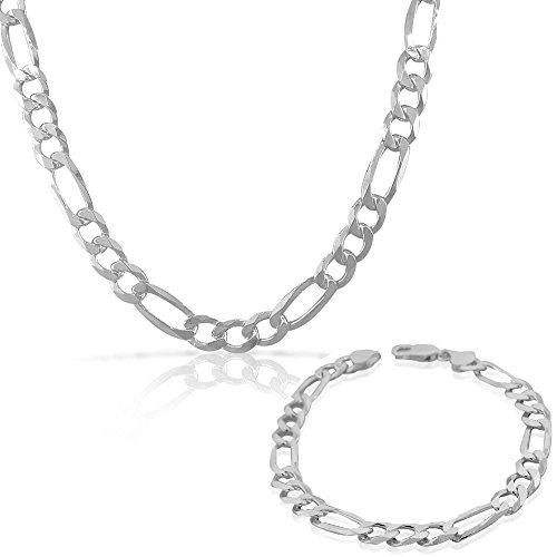 Parure da uomo in argento Sterling 925 con catena a maglia ro, stile classico, made in Italy