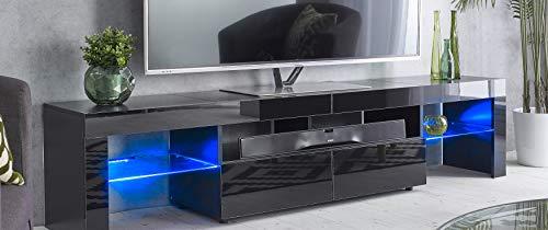 MMT Furniture Designs Ltd Meuble TV moderne noir de 200 cm de large pour TV de 65 à 80 pouces avec lumières LED bleues pour écrans plats LCD LED plasma de 50 55 60 65 70 75 80 90 pouces