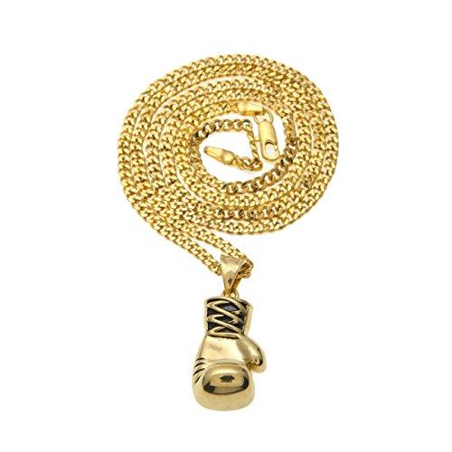 Beglie Herren Halskette Vergoldet Boxhandschuhe Halskette Männer Anhänger Männer-Kette Legierung Halskette Punk Gold Länger:60CM