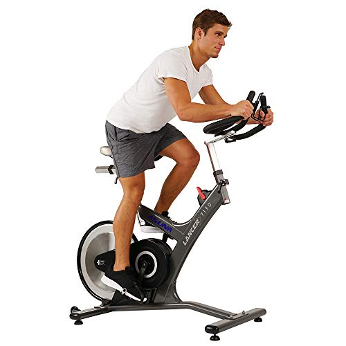 Sunny Health & Fitness Asuna 7130 Lancer Cycle Exercise Bike - Magnetic Belt Drive Commercial Indoor Cycling Bike with SPD Style/Cage Pedals, 285 LB Max Weight and Low Q-Factor