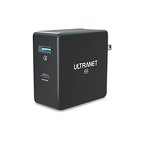 Fast Charger by ULTRANET, USB C Charger Block 65W 2-Port GaN PPS PD Charger, Foldable and Compact, USB Wall Charger for MacBook Pro Air, iPad, iPhone 12, Galaxy, Nintendo Switch and All USB C Charger