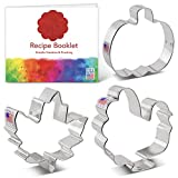Ann Clark Cookie Cutters 3-Piece Thanksgiving and Fall Holiday Cookie Cutter Set with Recipe Booklet, Maple Leaf, Turkey, Pumpkin