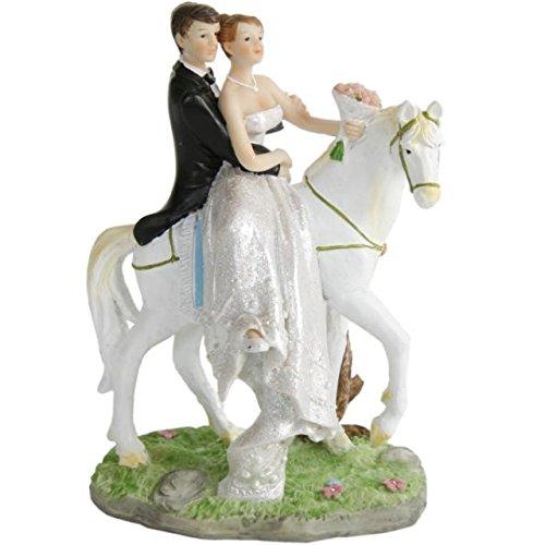 Hochzeitspaar Brautpaar auf Pferd Tisch-Deko Torten-Aufsatz Deko Silber-Hochzeit