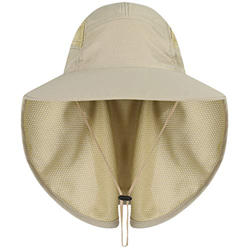 ErYao Outdoor Sun Hat Wide Brim UV Protection Fishing Hiking Caps with Face Neck Flap Cover for Men & Women Face Cover Summer (Khaki)
