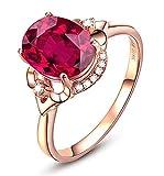 KnBoB Ringe Oval Blumen Solitärring Verlobungsringe Rose Gold mit 3ct Rot Taubenblut Gr.45 (14.3)...
